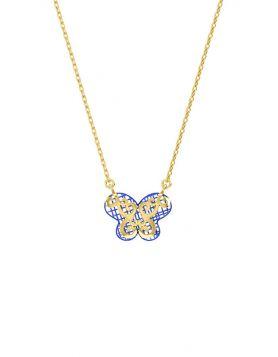 سلسال الفراشة الزرقاء، من الذهب الأصفر، عيار 18 قيراط