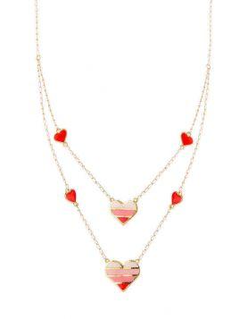 سلسال القلب المخطط بالأحمر، من دورين، من الذهب الأصفر 18 قيراط والمينا الحمراء