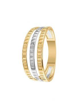 خاتم جيومتريك من ثلاثة أدوار، من الذهب الأصفر والأبيض عيار 18 قيراط