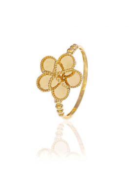 خاتم الزهرة الجميلة مع الكريات الذهبية، من الذهب الأصفر عيار 18 قيراط