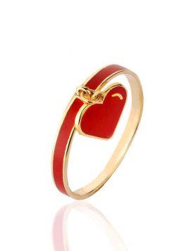 خاتم القلب الأحمر، من الذهب الأصفر عيار 18 قيراط والمينا الحمراء