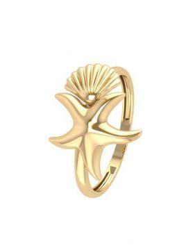 خاتم نجمة البحر  والصدفة الكلاسيكي، من الذهب الأصفر عيار 18 قيراط