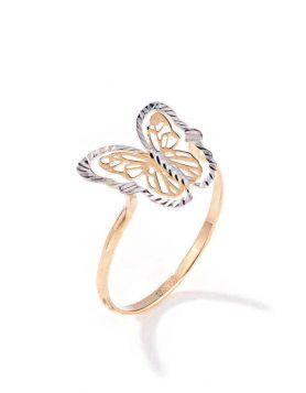 خاتم الفراشة المخططة الكبير، من الذهب الأبيض والأصفر عيار 18 قيراط - مقاس 14