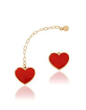 حلق الحب المبدع، من الذهب الأصفر 18 قيراط والمينا الحمراء