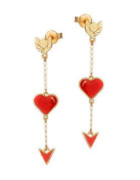 حلق سهام الحب، من الذهب الأصفر 18 قيراط والمينا الحمراء