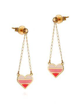 حلق القلب المخطط بالأحمر من الذهب الأصفر 18 قيراط والمينا الملونة