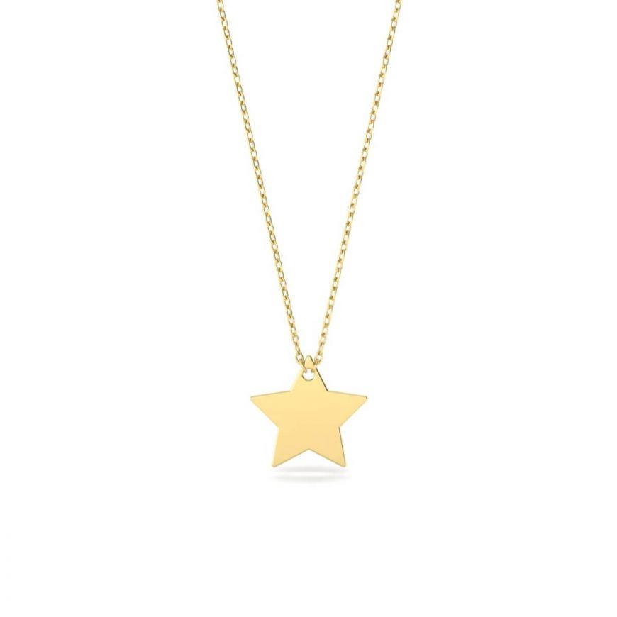 انا كما أريد سلسال النجمة بتوقيعك الخاص، من الذهب عيار 18 قيراط
