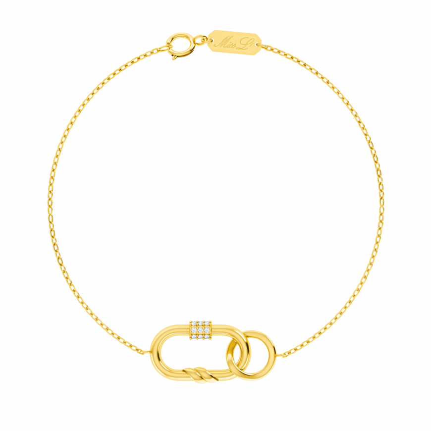 سوار شدة الشعاع من الذهب الأصفر   عيار  18قيراط ومرصع بالألماس الأبيض  من مجموعة لادي فوزازا