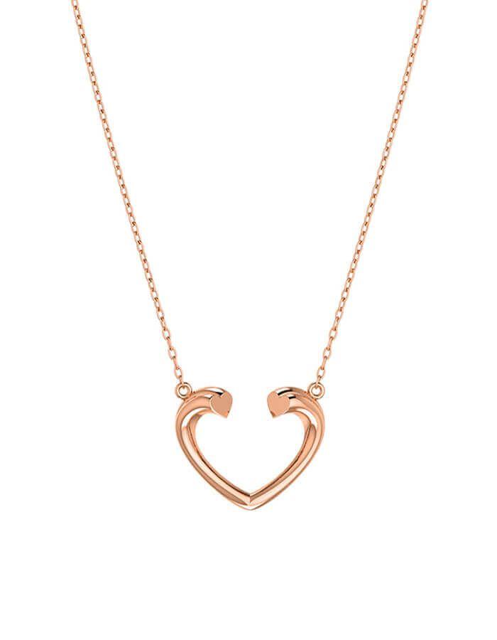 سلسال القلب المفتوح، من الذهب الوردى عيار 18 قيراط