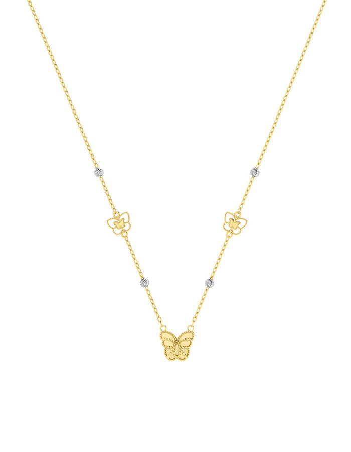 سلسال الفراشة الذهبية، من الذهب الأصفر عيار 18 قيراط