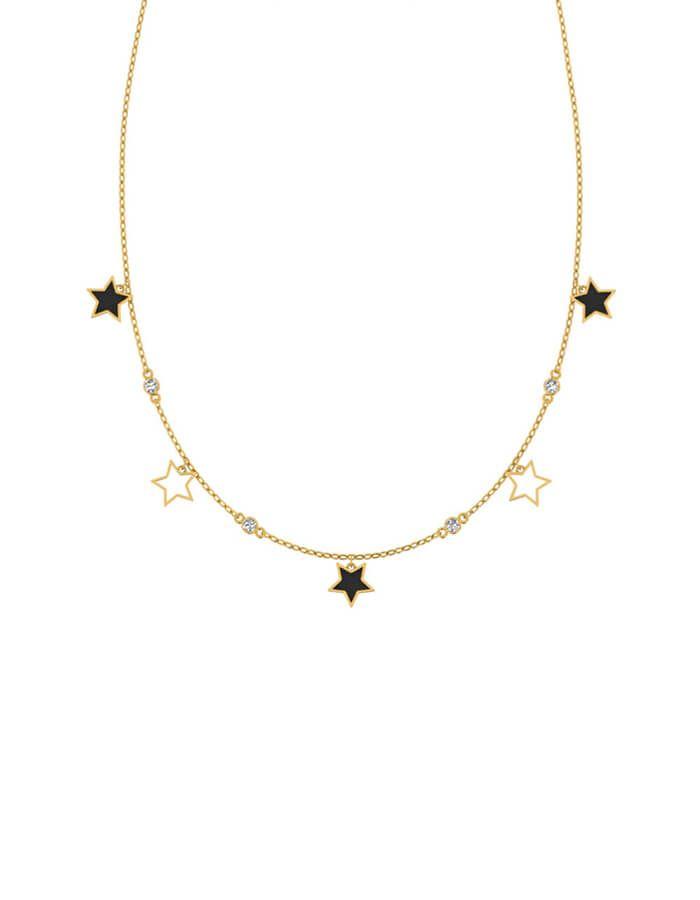 سلسال لمسة النجوم الناعمة، من الذهب الأصفر عيار 18 قيراط