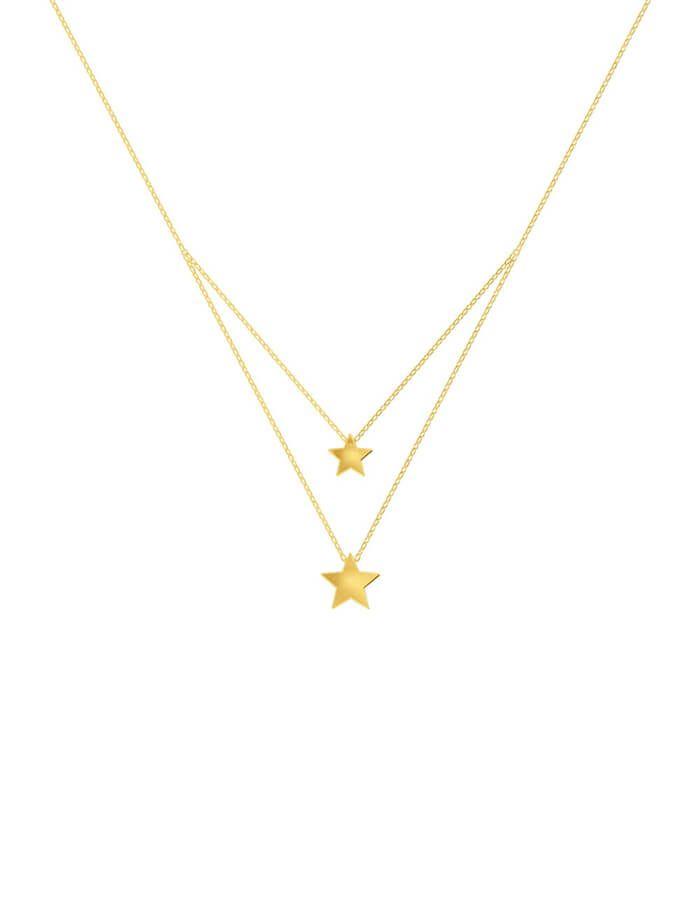 سلسال النجمتين اللامعتين، من الذهب الأصفر عيار 18 قيراط