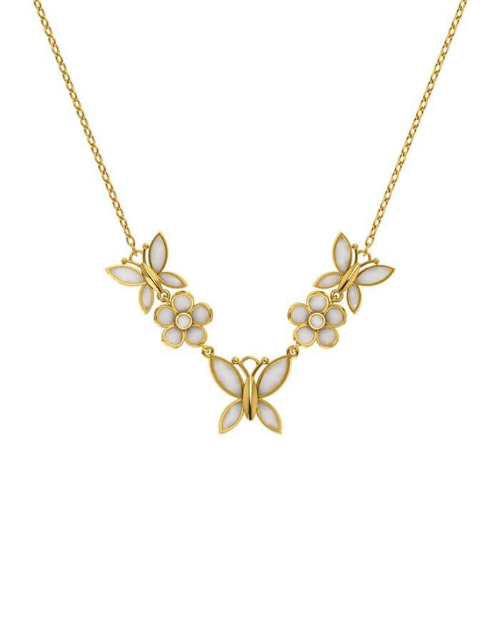 سلسال بهجة الفراشات، من الذهب الأصفر و المينا البيضاء عيار 18 قيراط