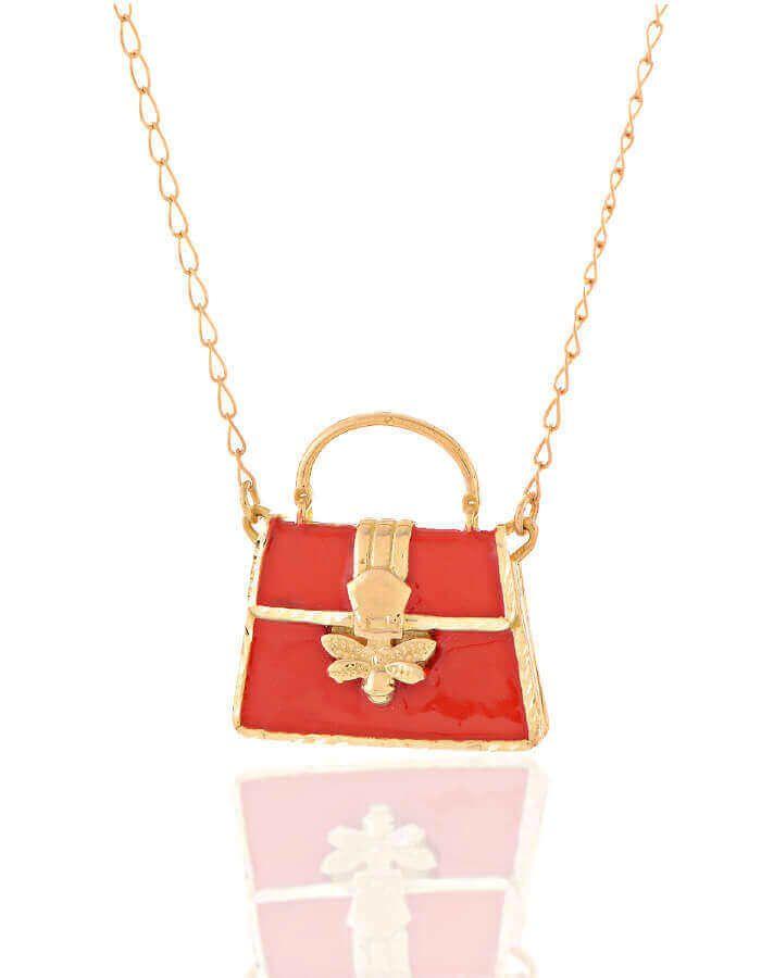 سلسال حقيبة اليد الحمراء، من الذهب الأصفر عيار 18 قيراط