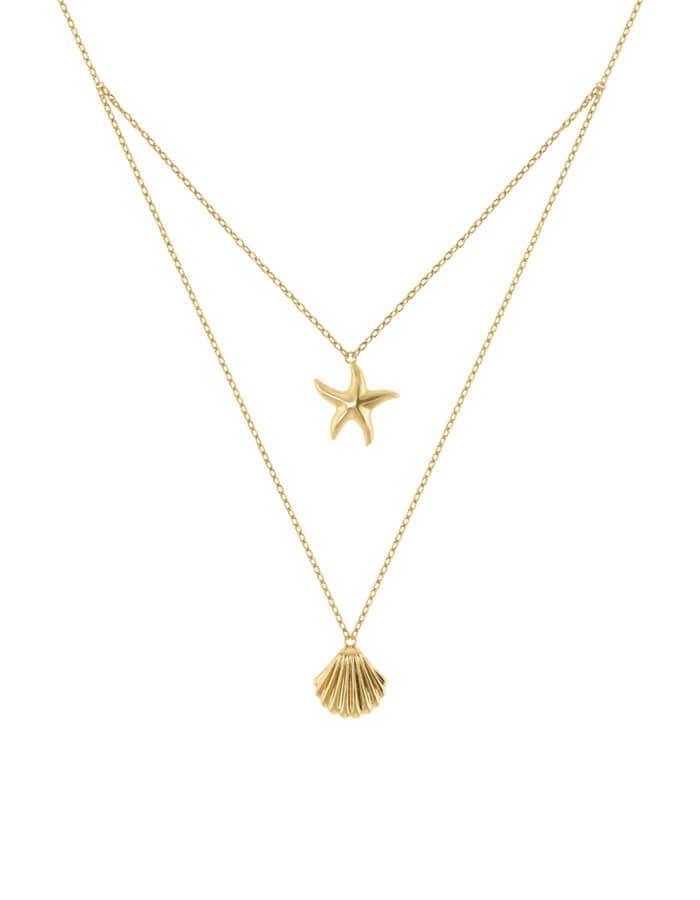 سلسال نجمة البحر  والصدفة الكلاسيكي، من الذهب الأصفر عيار 18 قيراط