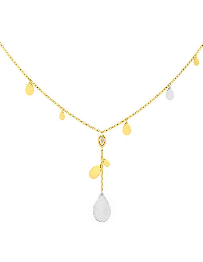 سلسال قطرات الماس من الذهب الأصفر والوردي عيار 18 قيراط