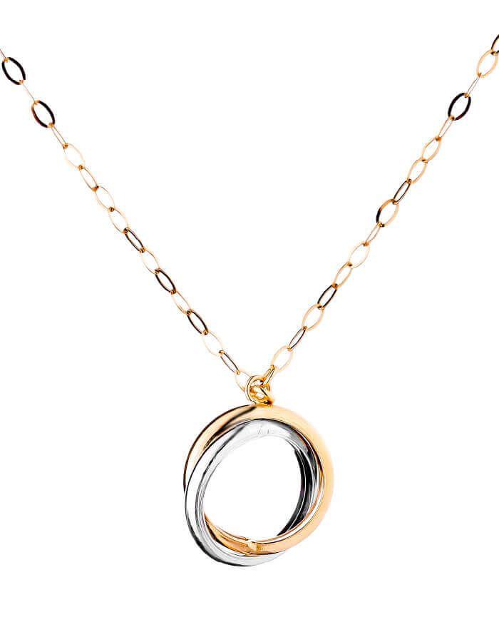 سلسال الدائرة المزدوجة، النسخة الصغيرة، من الذهب الأصفر  والأبيض عيار 18 قيراط