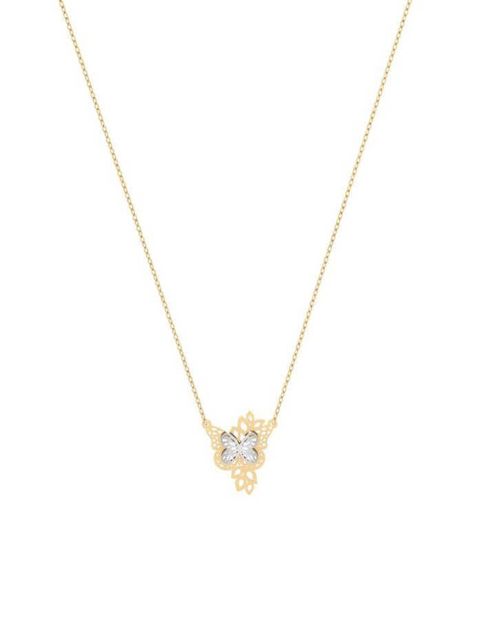 سلسال الفراشة البرّاقة، من الذهب الأصفر والأبيض عيار 18 قيراط