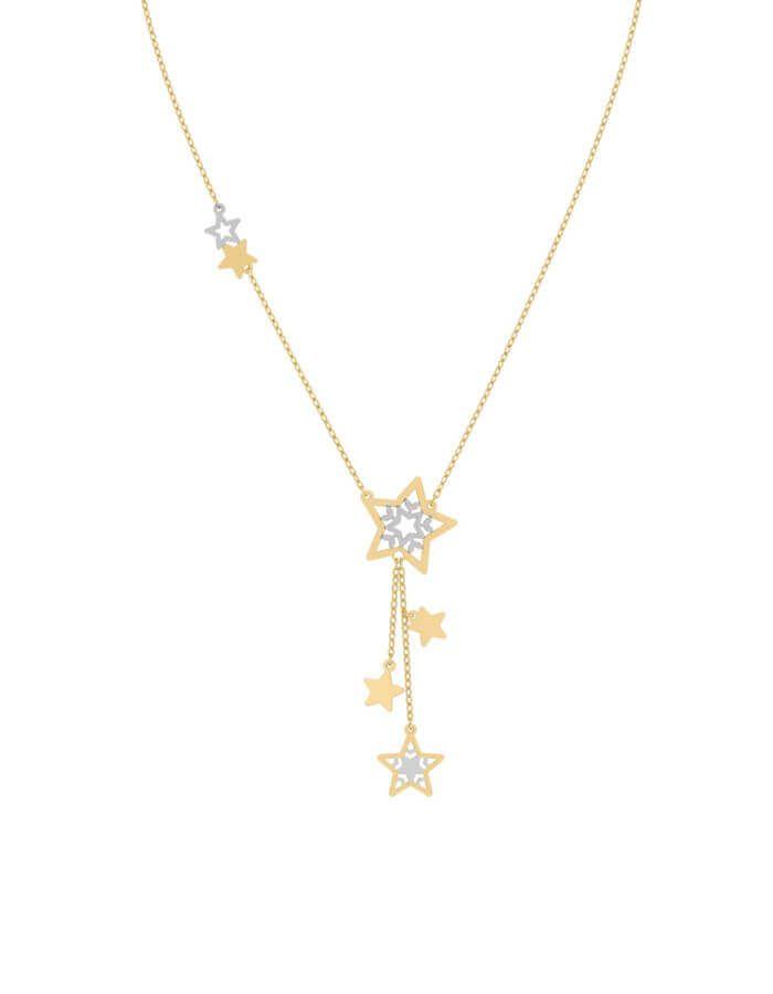 سلسال احتفال النجوم، من الذهب الأصفر والأبيض عيار 18 قيراط