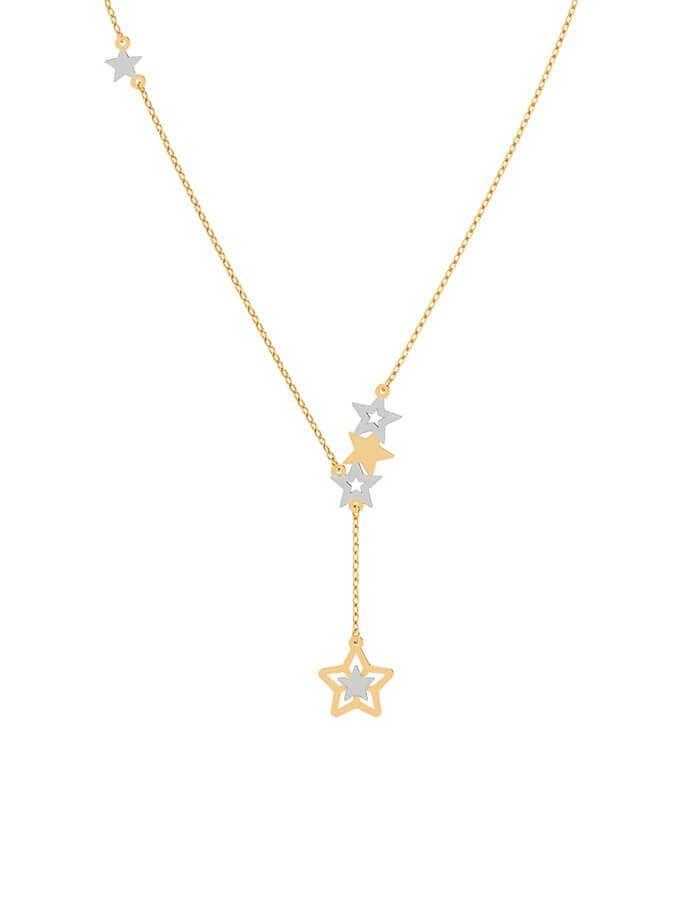 سلسال النجمات المتلألئة،  من الذهب الأصفر والأبيض عيار 18 قيراط