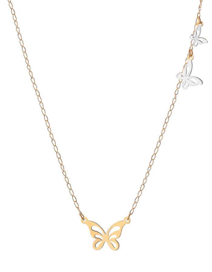 سلسال الفراشات الراقصة، من الذهب الأصفر والأبيض عيار 18 قيراط