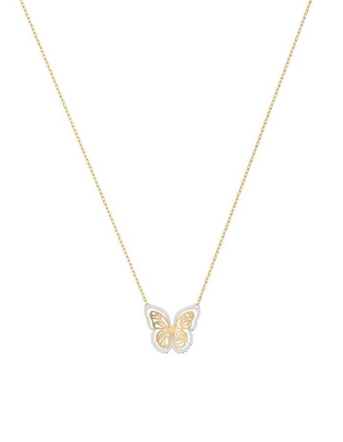 سلسال الفراشة الذهبية، من الذهب الأصفر والأبيض عيار 18 قيراط