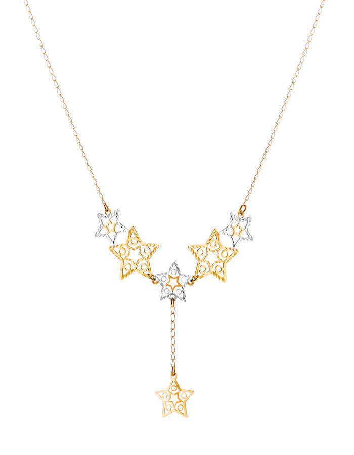 سلسال النجمات المتوازية، من الذهب الأصفر والأبيض، عيار 18 قيراط