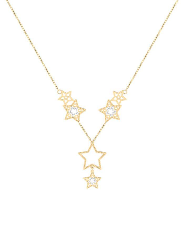 سلسال النجمة البرّاقة، من الذهب الأبيض والأصفر عيار 18 قيراط