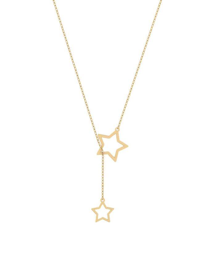 سلسال النجمتين، من الذهب الأصفر عيار 18 قيراط