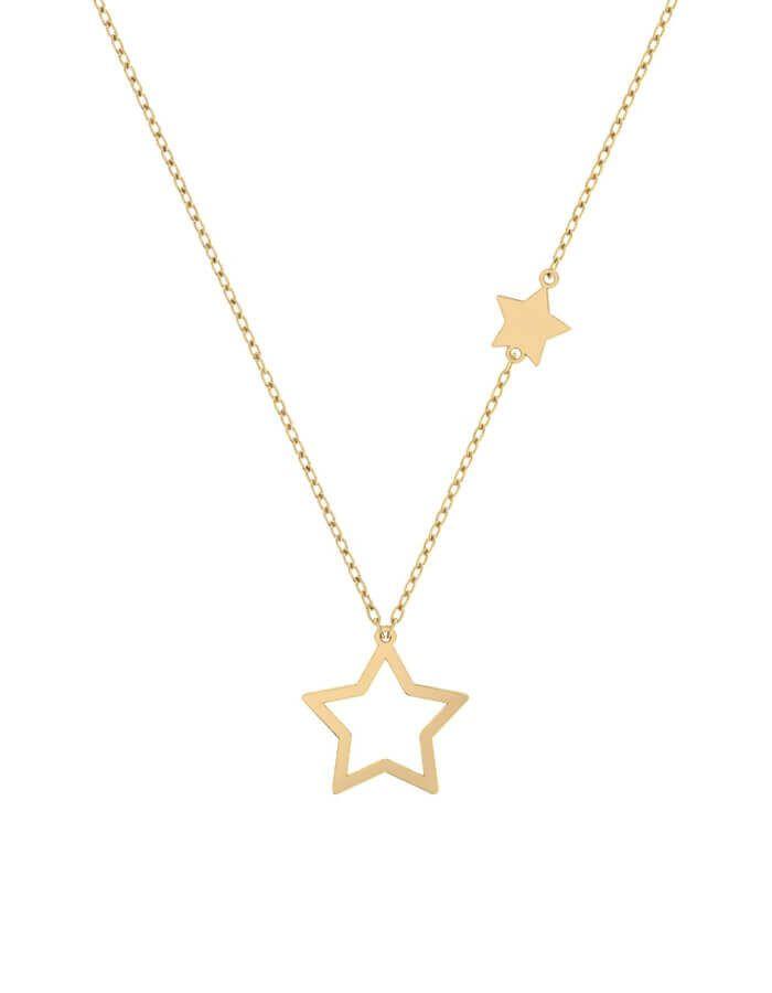 سلسال ستار من نجمتين، من الذهب الأصفر عيار 18 قيراط