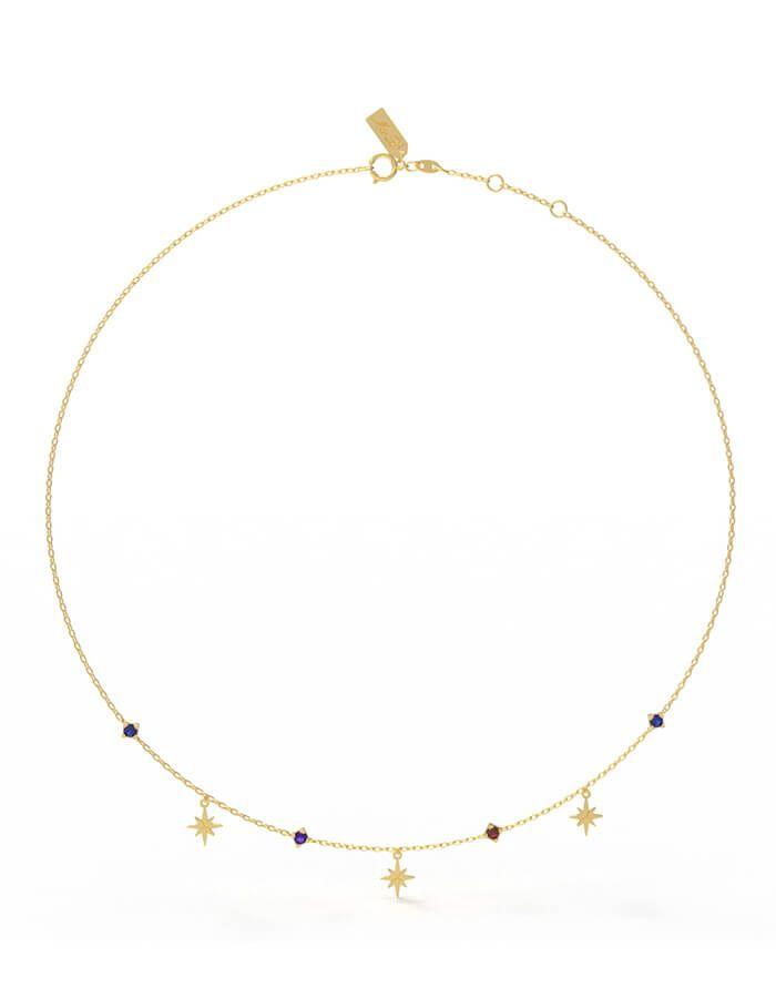 سلسال النجمات البراقة، من الذهب الأصفر عيار 18 قيراط والأحجار الملونة من الجمشت، والصفير والياقوت