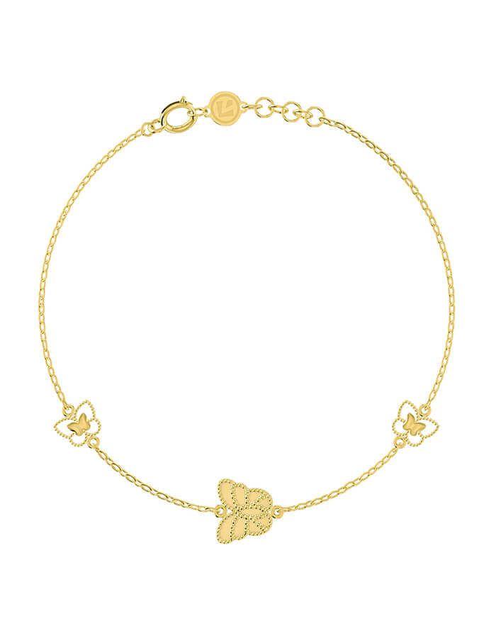سوار الفراشة النائمة، من الذهب الأصفر، عيار 18 قيراط