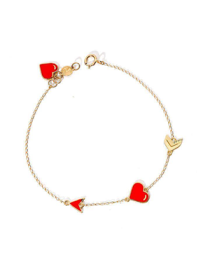 سوار سهام الحب، من الذهب الأصفر 18 قيراط والمينا الحمراء