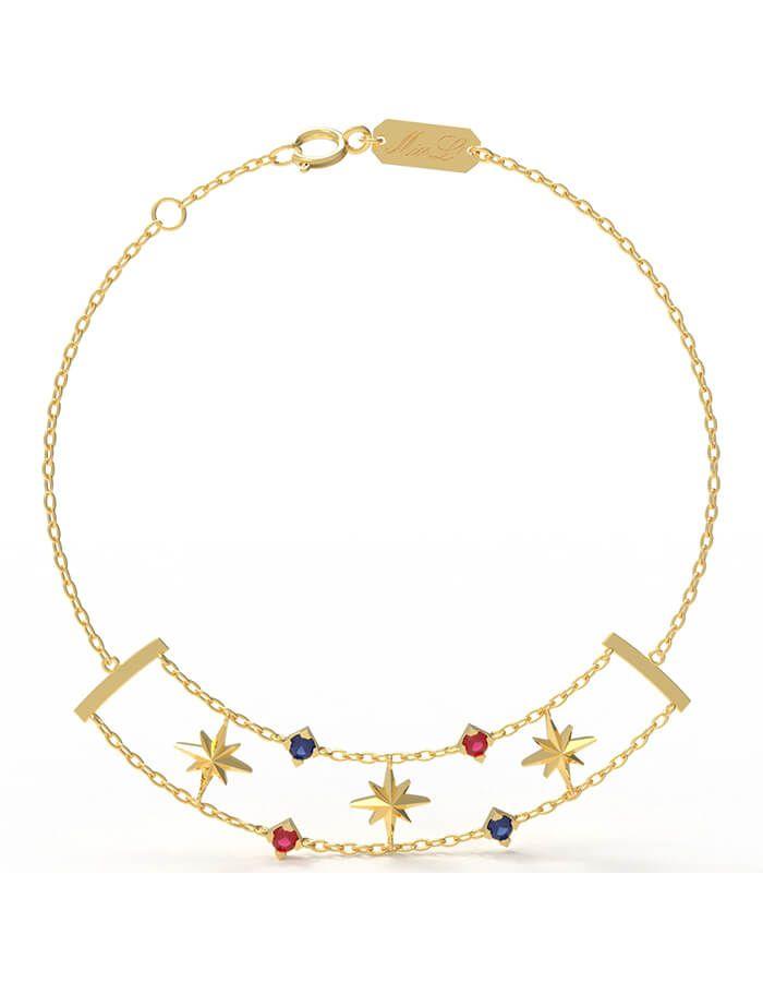 سوار النجمات البراقة، من الذهب الأصفر عيار 18 قيراط والأحجار الملونة من الجمشت، والصفير والياقوت