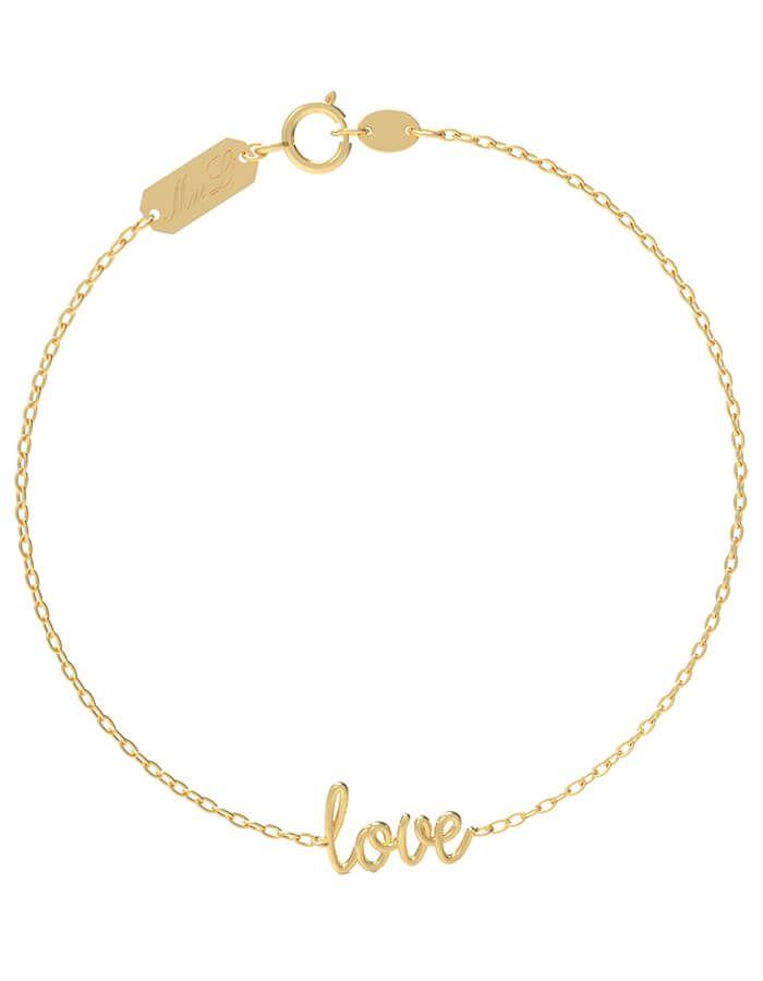سوار كلمة حب، من الذهب الأصفر عيار 18 قيراط