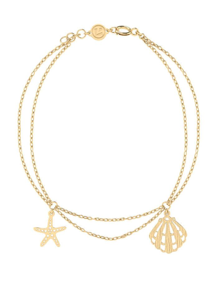 Sea Star and sea shell Bracelet,Double Row, in 18 K yellow gold