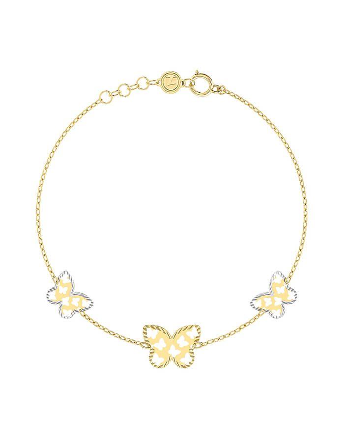 سوار الفراشةالمفرغه، من دورين، من الذهب الأصفر والأبيض عيار 18 قيراط