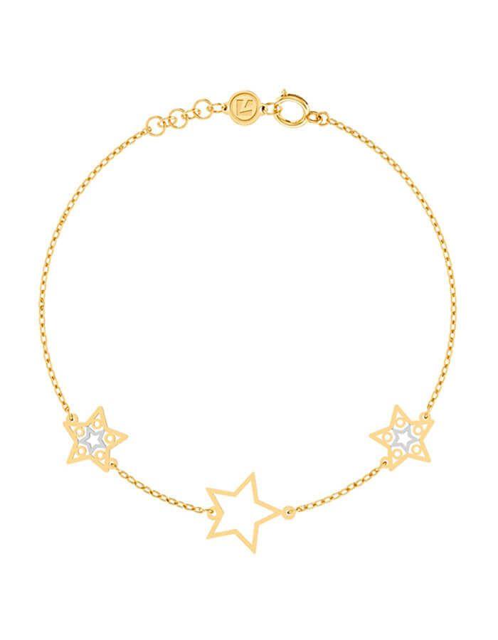 سوار النجوم اللامعة، من الذهب الأصفر والأبيض عيار 18 قيراط