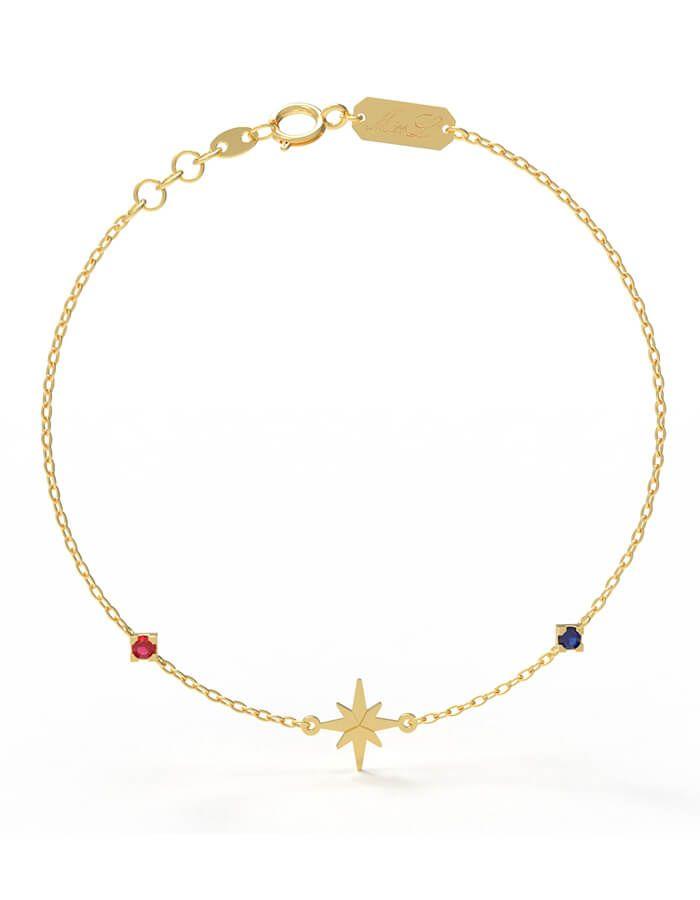 سوار النجمات البراقة، من الذهب الأصفر عيار 18 قيراط والأحجار الملونة من الصفير والياقوت