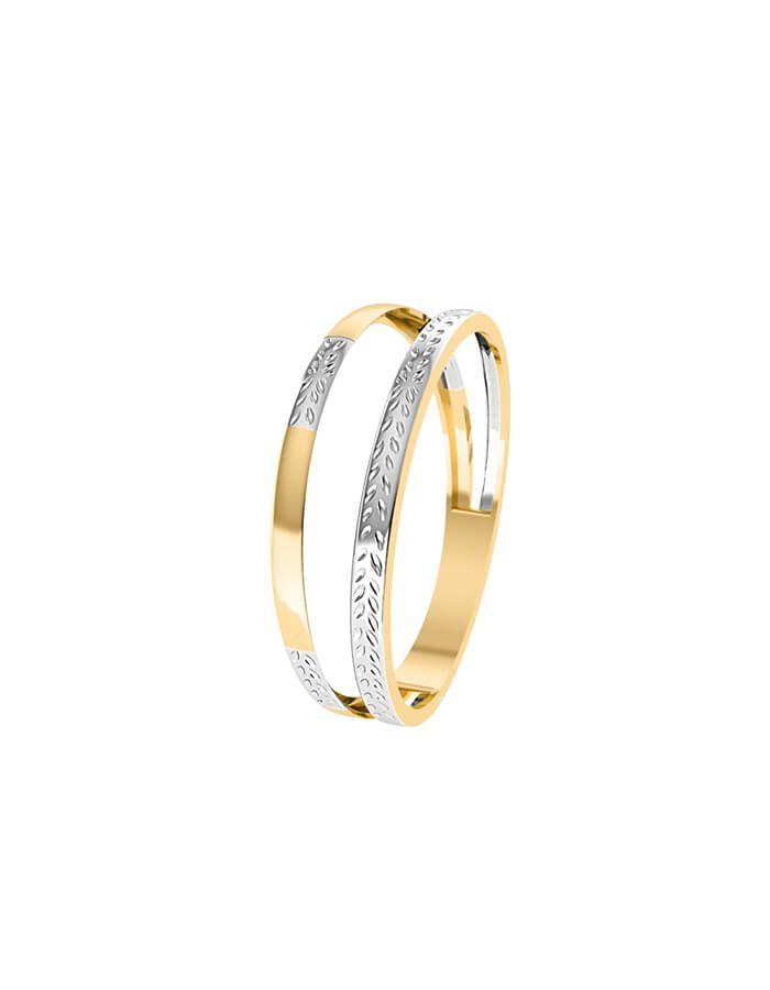خاتم جيومتريك من دورين، من الذهب الأصفر والأبيض عيار 18 قيراط