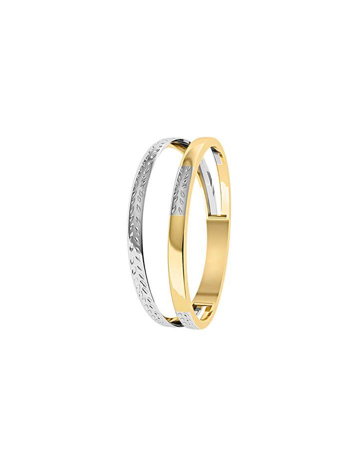 خاتم الخطين المزدوجين، من الذهب الأصفر والأبيض عيار 18 قيراط - مقاس 12