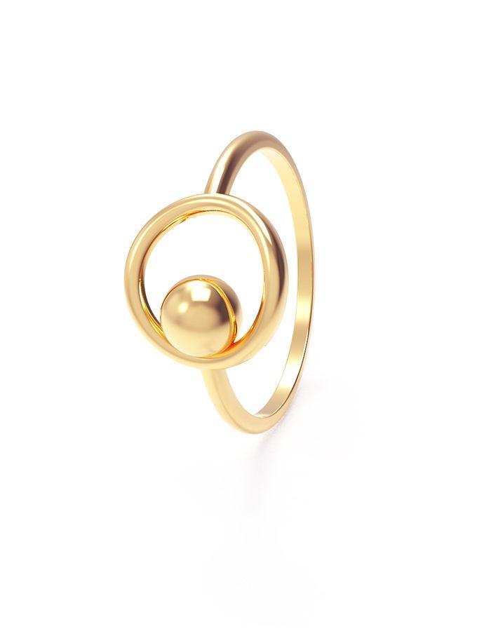 خاتم الكرة الحلقية من الذهب الأصفر عيار 18 قيراط