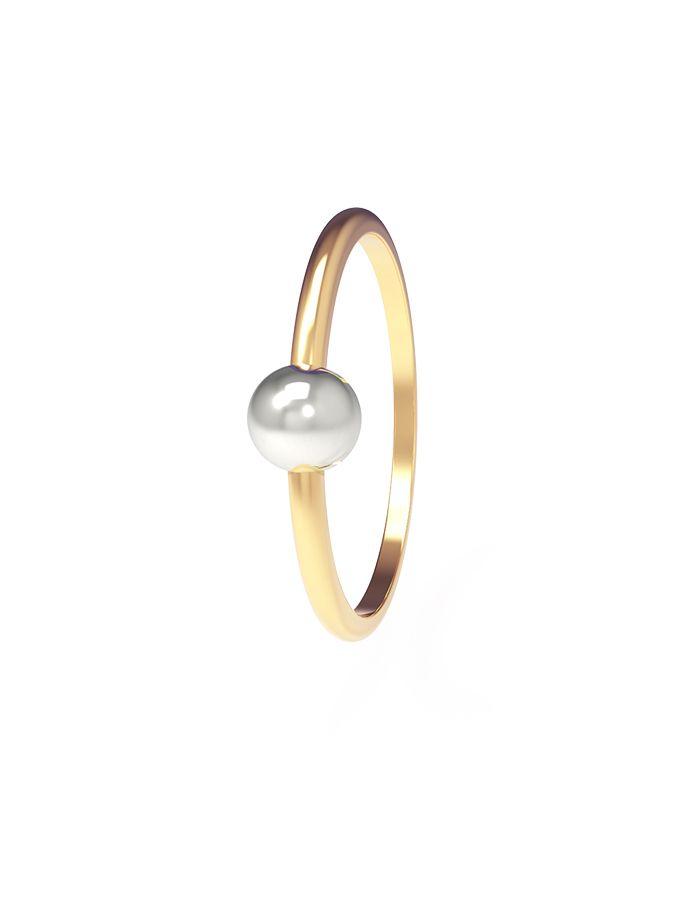 خاتم الكرة البيضاء من الذهب الأصفر عيار 18 قيراط