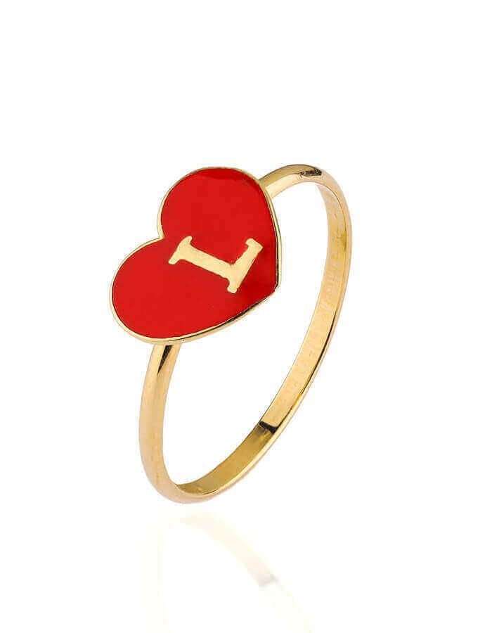 خاتم حروف الحب، من الذهب الأصفر 18 قيراط والمينا الحمراء - مقاس 14