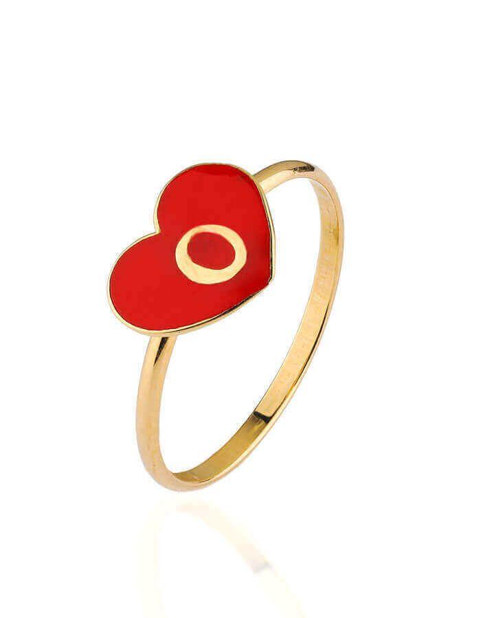 خاتم حروف الحب، من الذهب الأصفر 18 قيراط والمينا الحمراء
