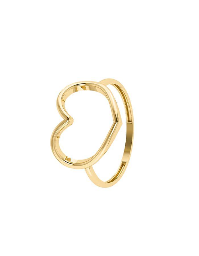 خاتم القلب الكبير، من الذهب الأصفر عيار 18 قيراط