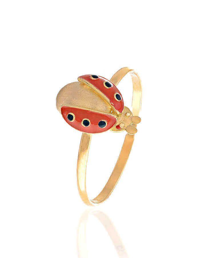 خاتم الدعسوقة، من الذهب الأصفر عيار 18 قيراط والمينا الحمراء