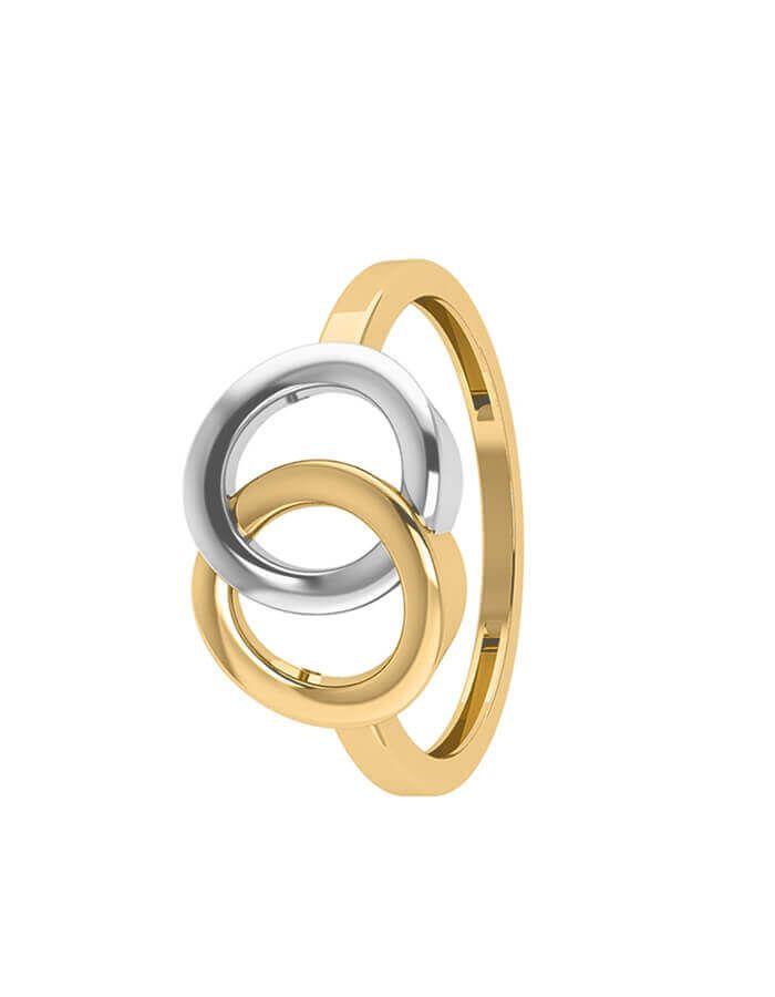 خاتم الدائرتين المتداخلتين، من الذهب الأصفر والأبيض عيار 18 قيراط