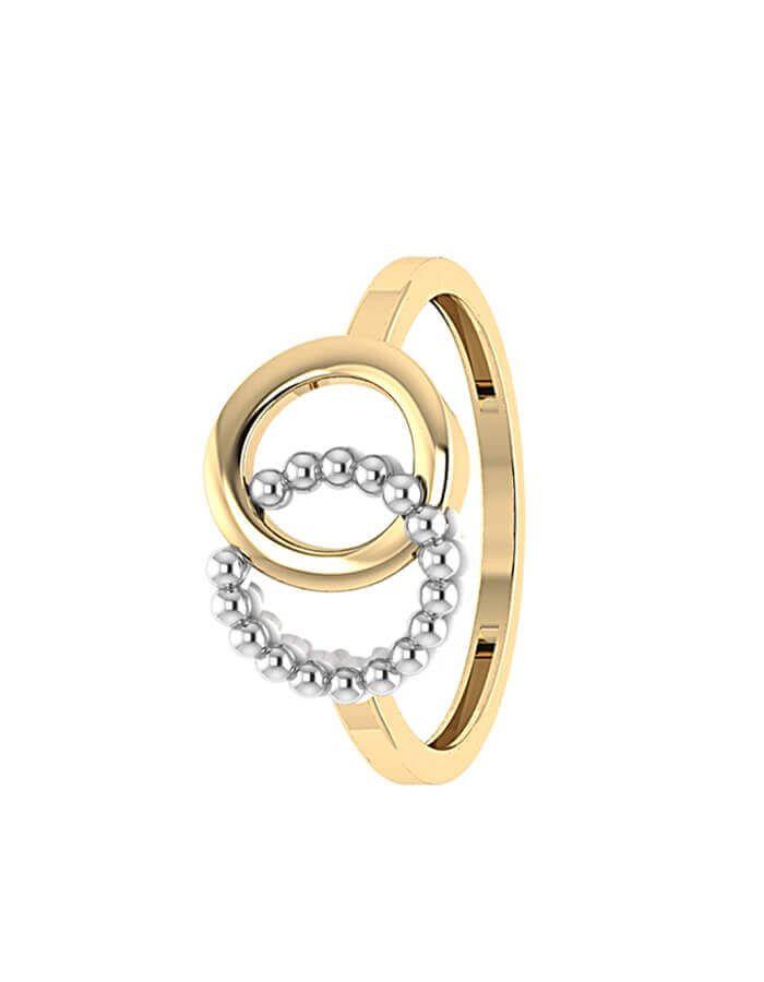 خاتم الدائرتين المتداخلتين، النسخة المميزة، من الذهب الأصفر والأبيض عيار 18 قيراط