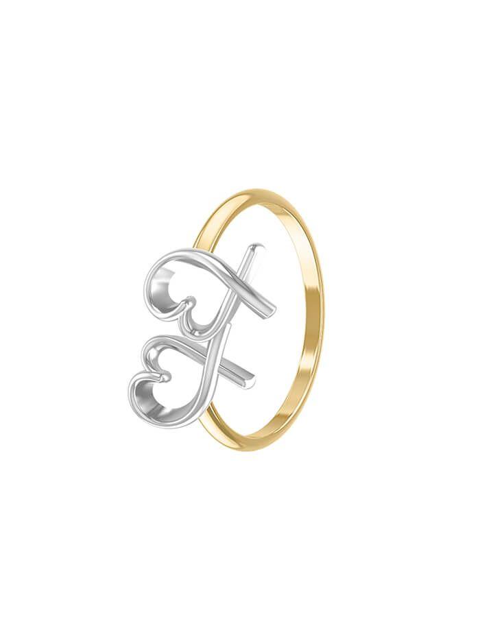 خاتم مرسوم في قلبي، من الذهب الأصفر والأبيض عيار 18 قيراط